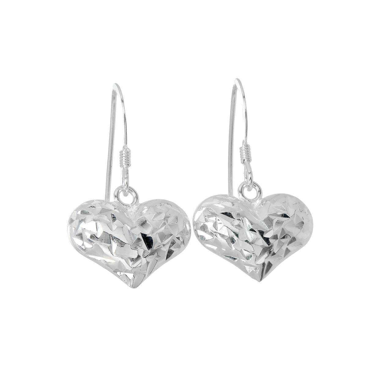Sterling Silver Diamond Cut Puffed Heart Dangle Earrings