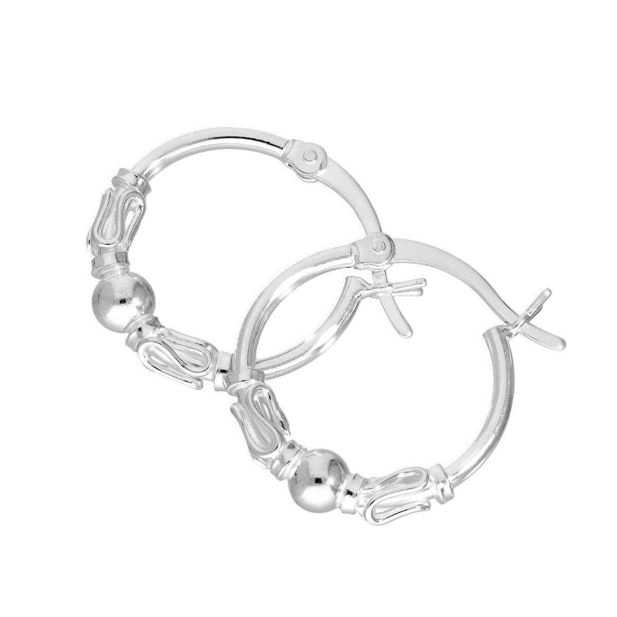Sterling Silver Fancy Hoop Earrings