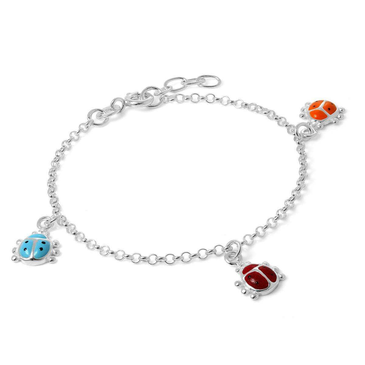 Childrens Sterling Silver Ladybird Charm Bracelet