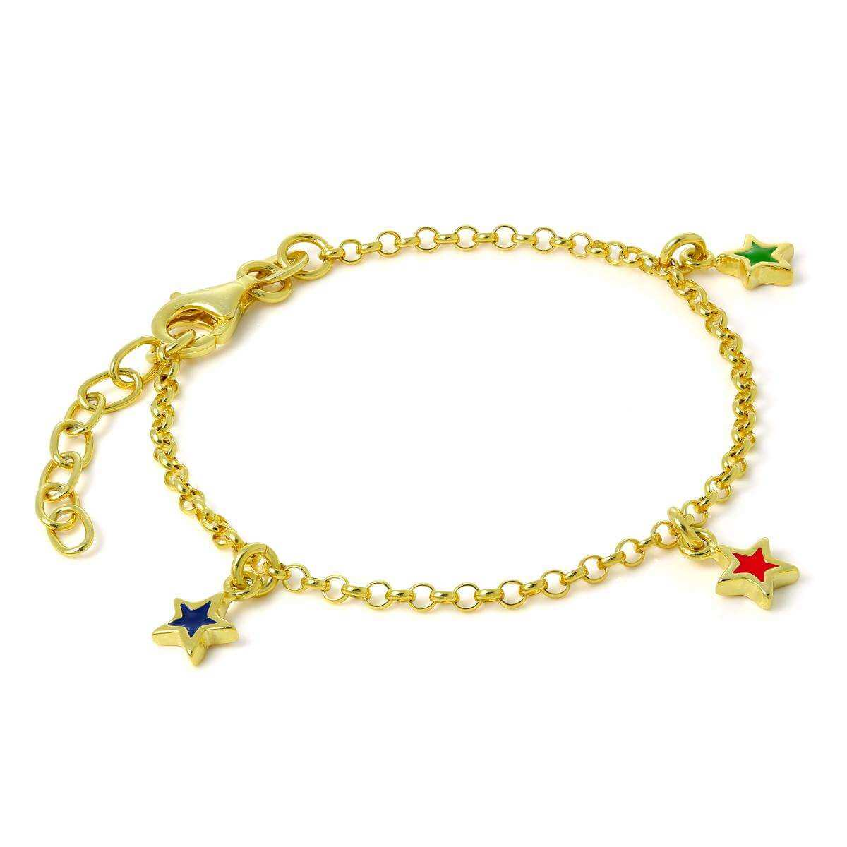 Gold Plated Sterling Silver Child Star Charm Bracelet