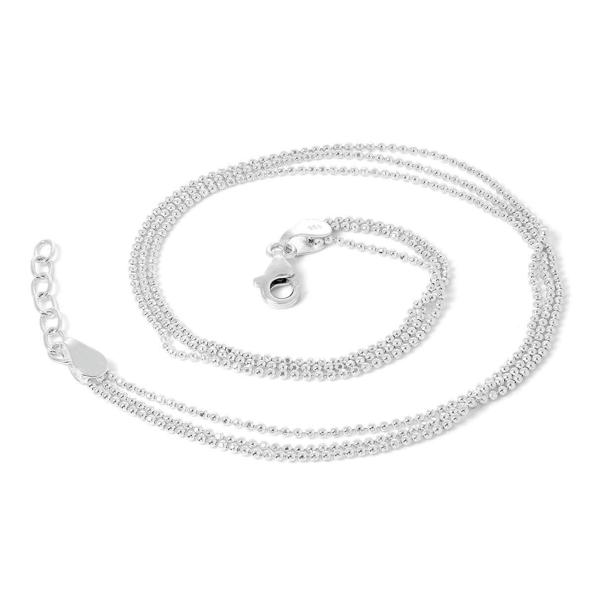 Sterling Silver Simple Triple 1mm Bead Chain Anklet