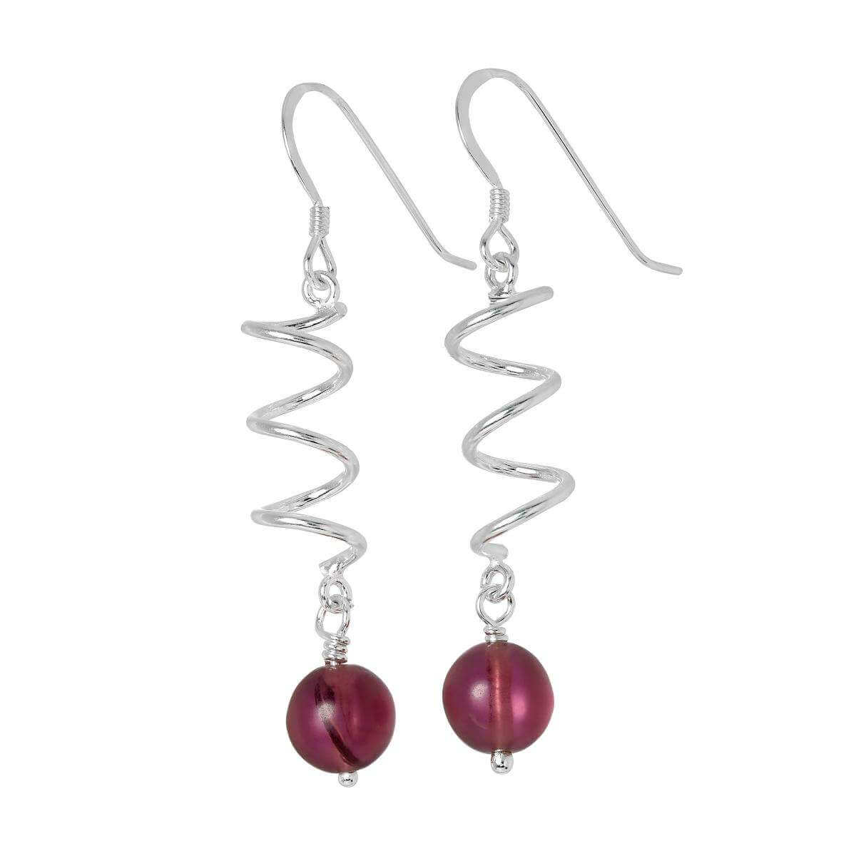 Sterling Silver & Amethyst Glass Bead Twist Drop Earrings