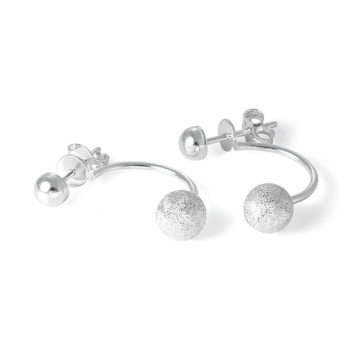 Sterling Silver Frosted Ball Half Hoop Stud Earrings
