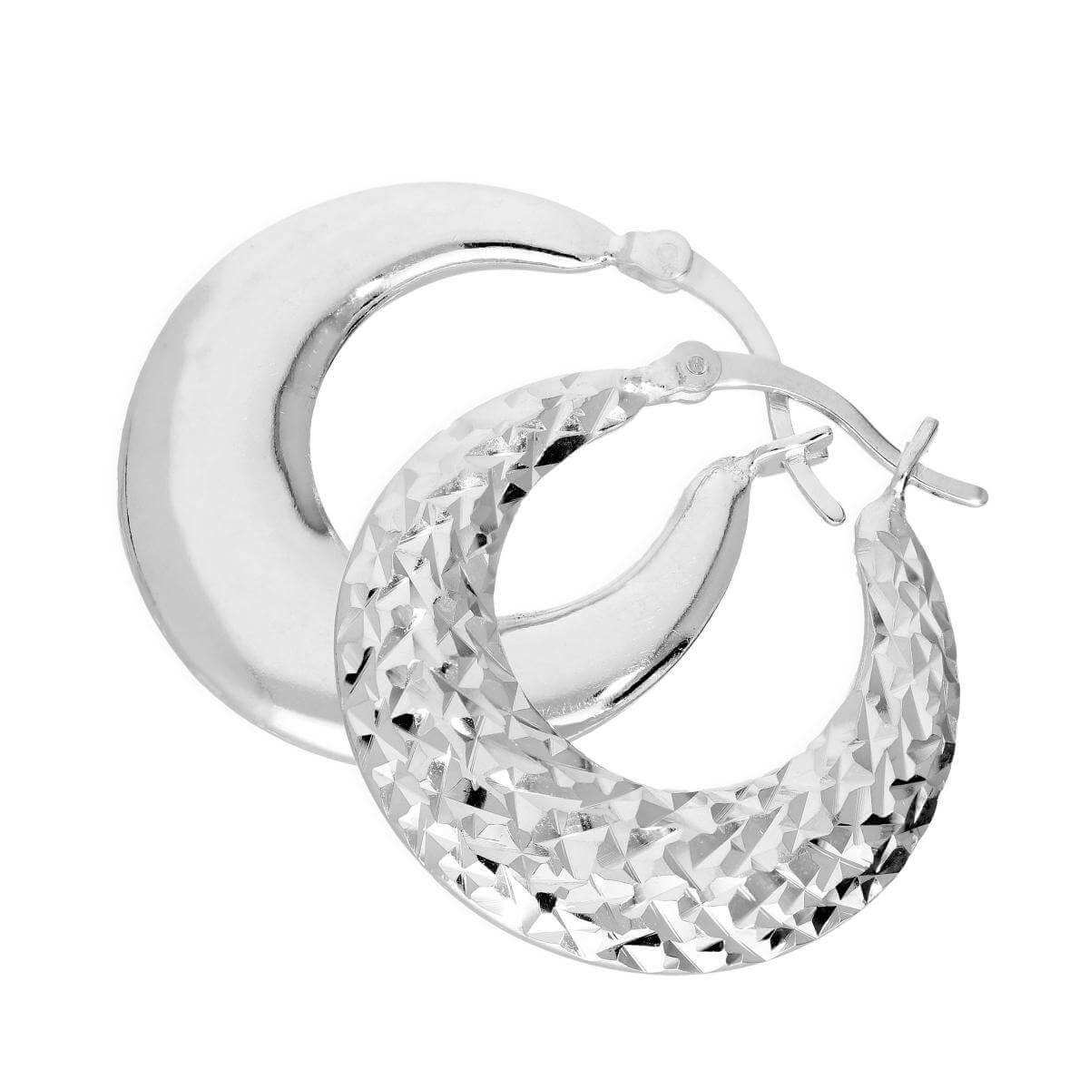 Sterling Silver Flat Diamond Cut Creole Hoop Earrings