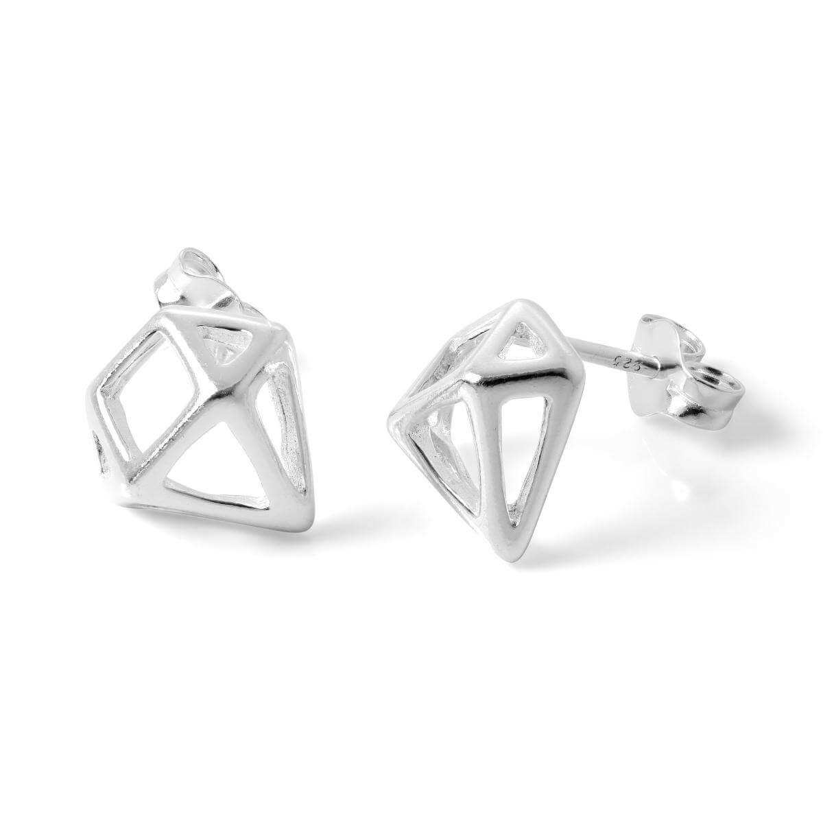 Sterling Silver Open Diamond Shaped Stud Earrings