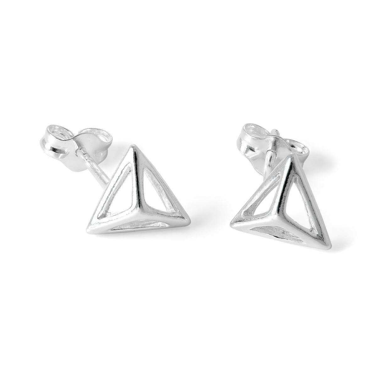Sterling Silver Open Pyramid 3D Triangle Stud Earrings