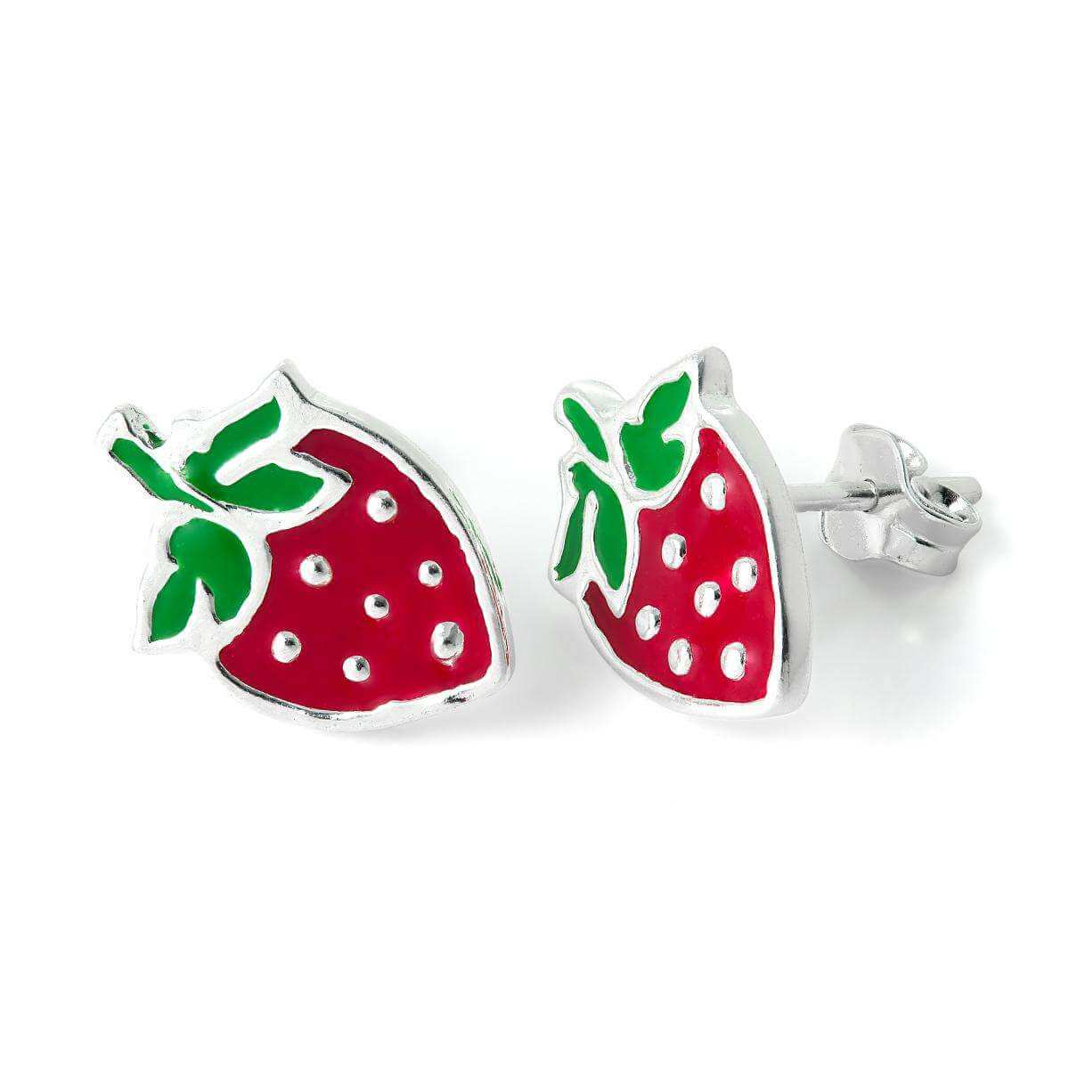 Sterling Silver & Enamel Strawberry Stud Earrings