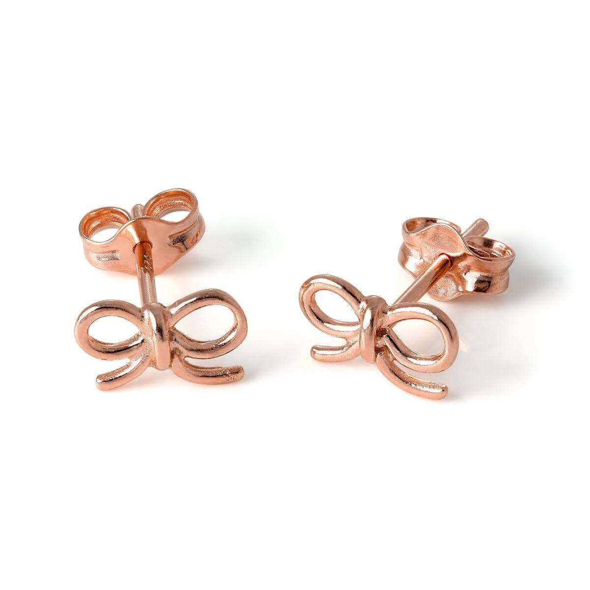Rose Gold Plated Sterling Silver Ribbon Bow Stud Earrings