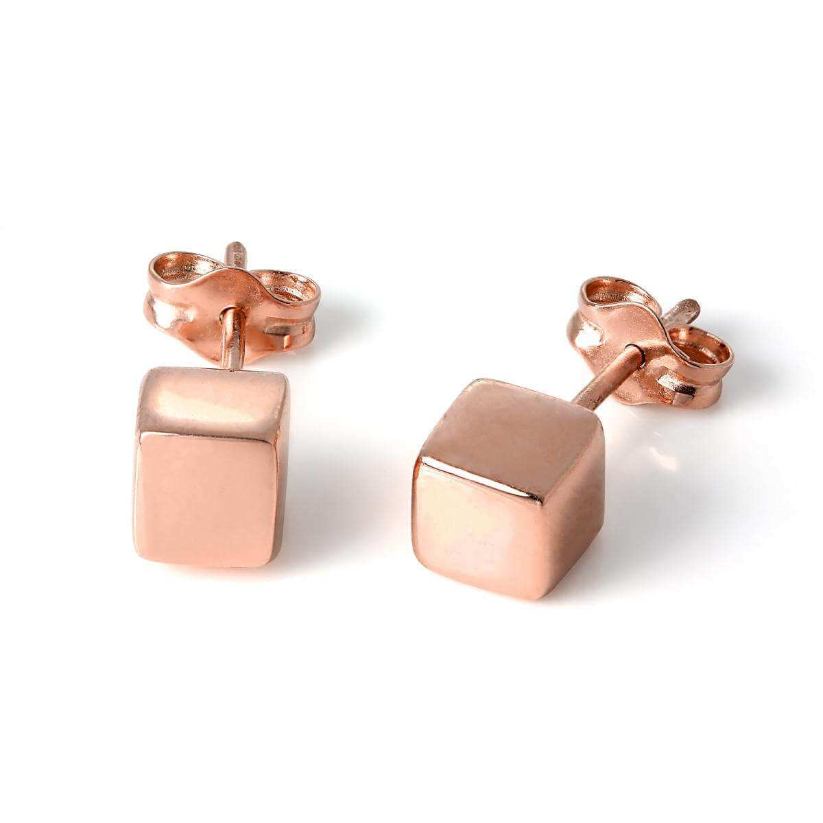 Rose Gold Plated Sterling Silver 5mm Cube Stud Earrings