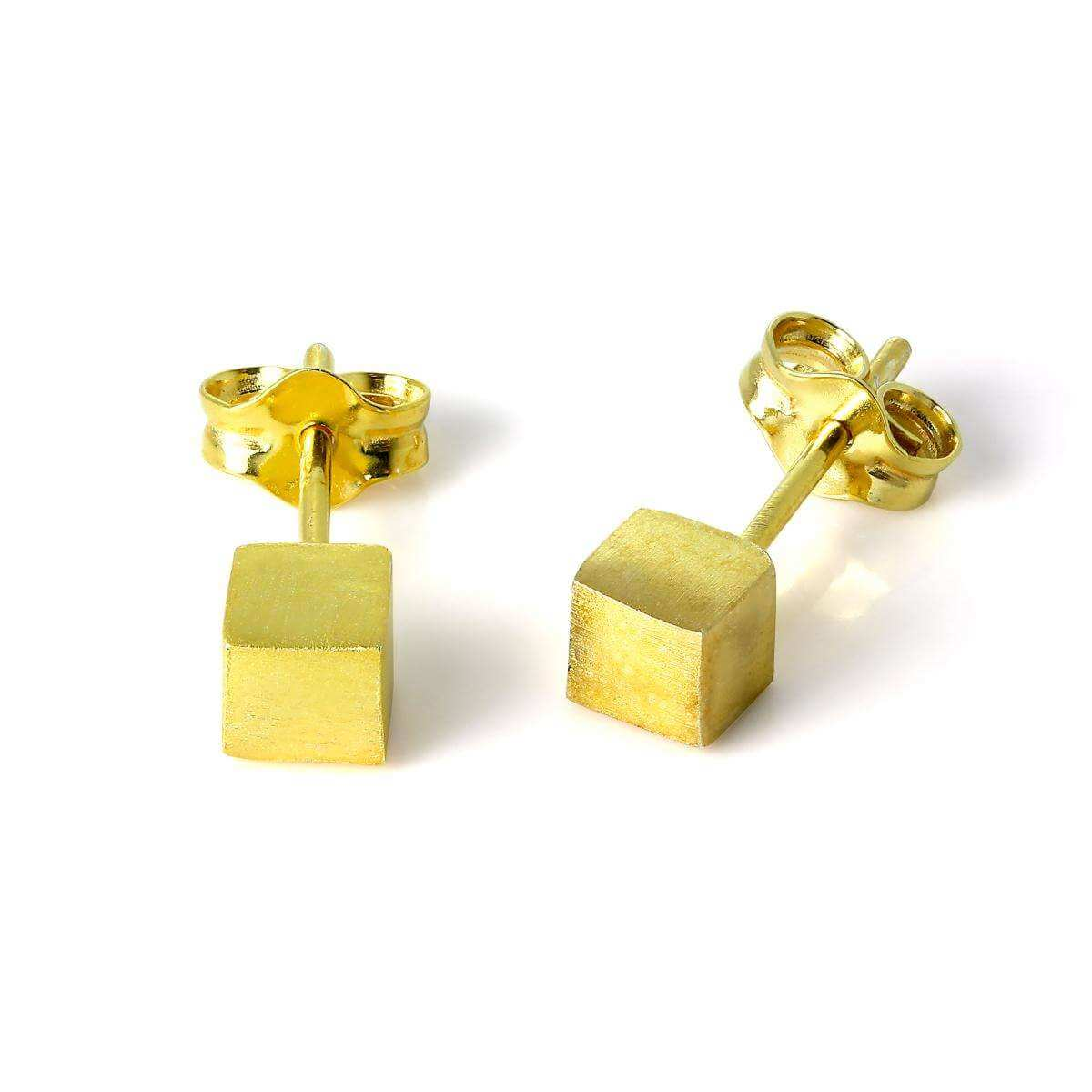 Gold Plated Sterling Silver Matt Finish 4mm Cube Stud Earrings