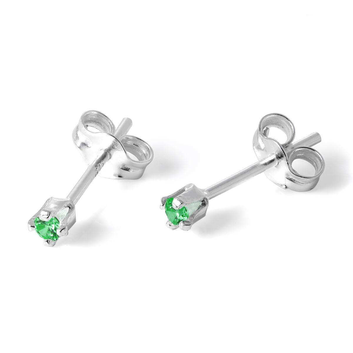 Sterling Silver & 2mm Round Emerald CZ Crystal Stud Earrings