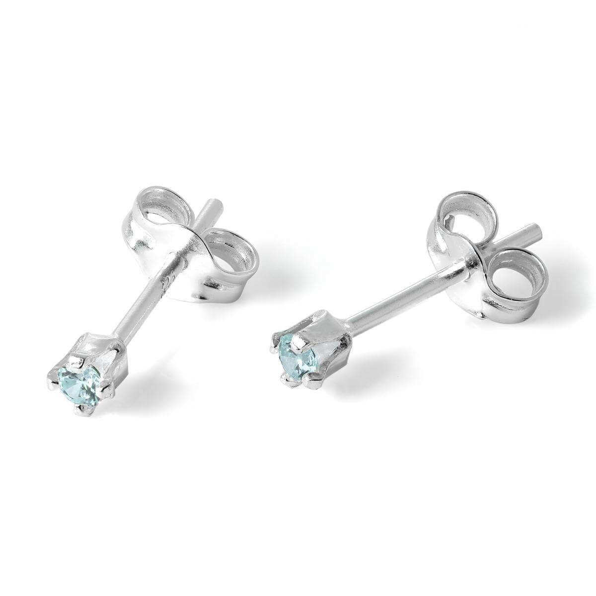 Sterling Silver & 2mm Round Blue Topaz CZ Crystal Stud Earrings