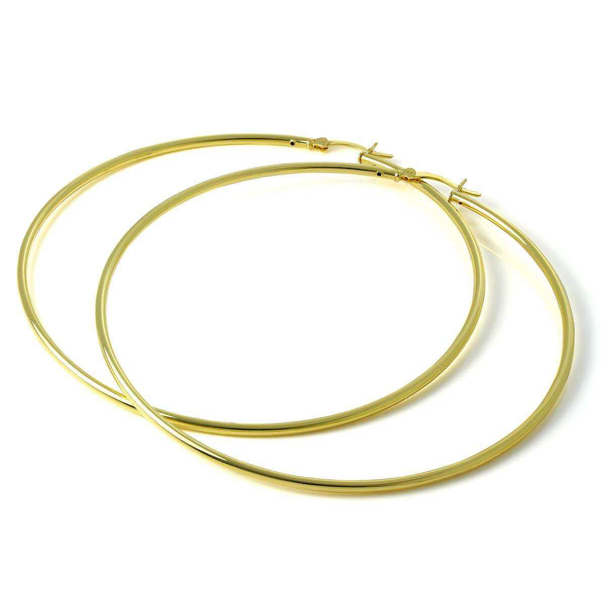 Gold Plated Sterling Silver 2mm Tube Sleeper 80mm Hoop Earrings