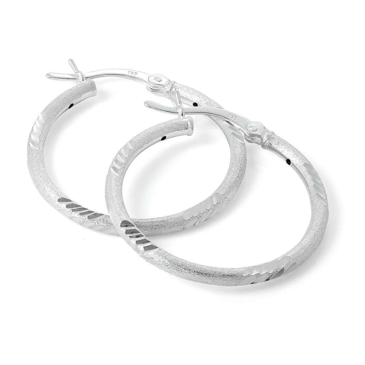 Diamond Cut Matt Sterling Silver 25mm Hoop Earrings