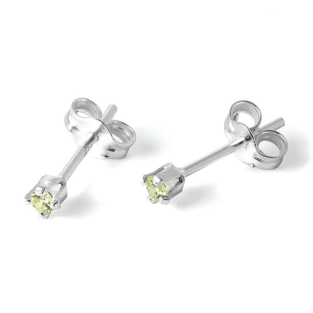 Sterling Silver & 2mm Round Peridot CZ Crystal Stud Earrings