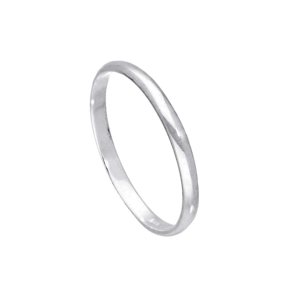 Sterling Silver 2mm D Shaped Wedding Band Ring Size E - W
