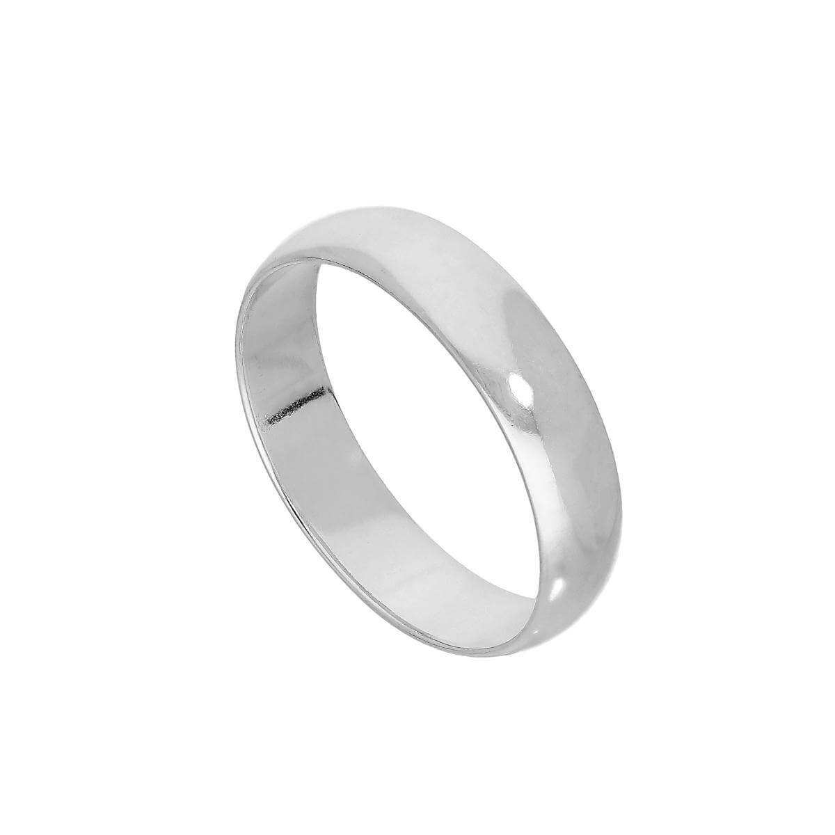Sterling Silver 5mm D Shaped Wedding Band Ring Size I - Z+5