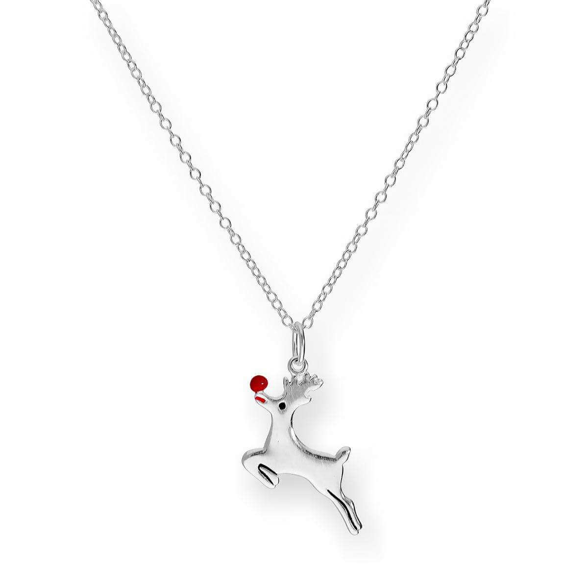 Sterling Silver 18 Inch Rudolph Reindeer Necklace