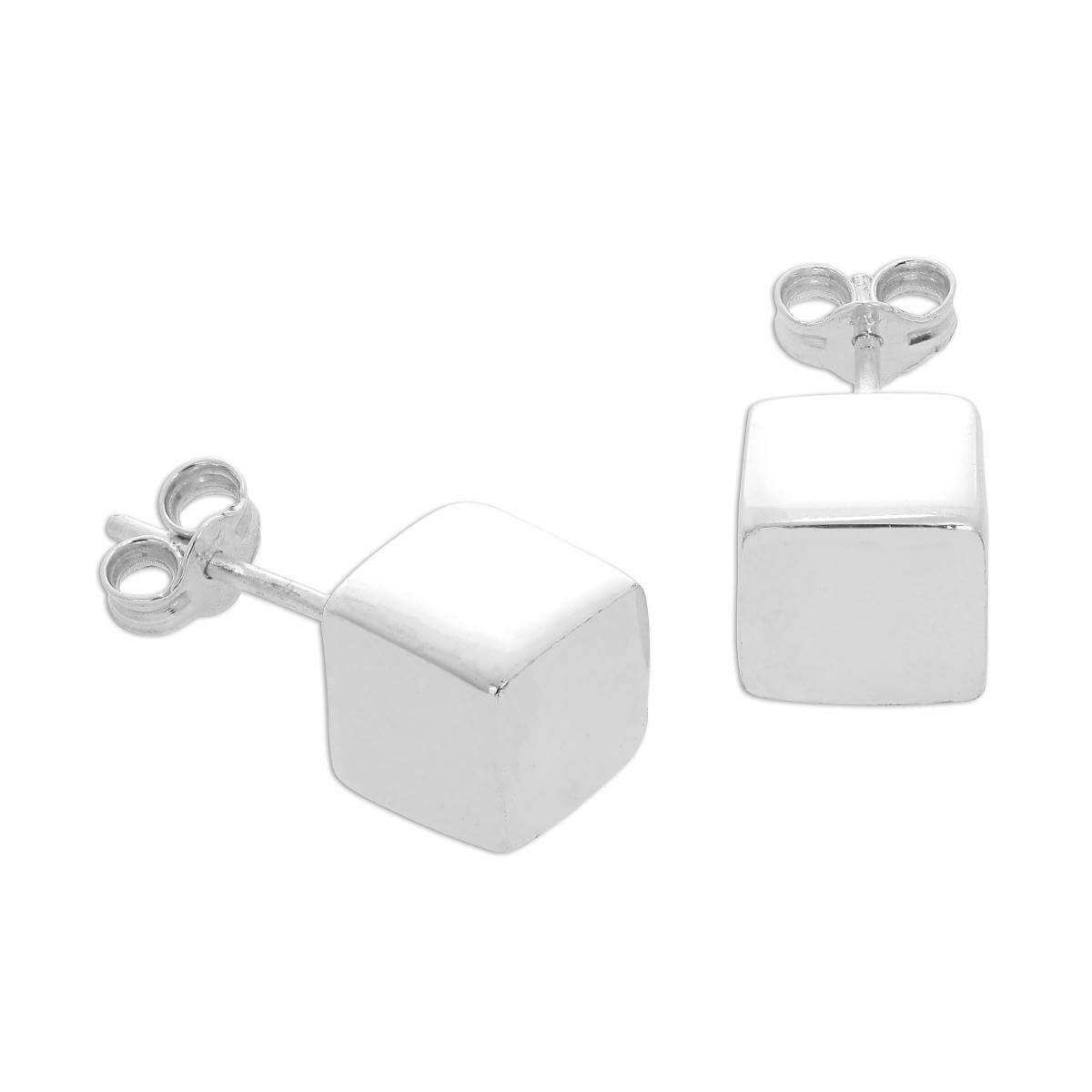 Sterling Silver 7mm Cube Stud Earrings