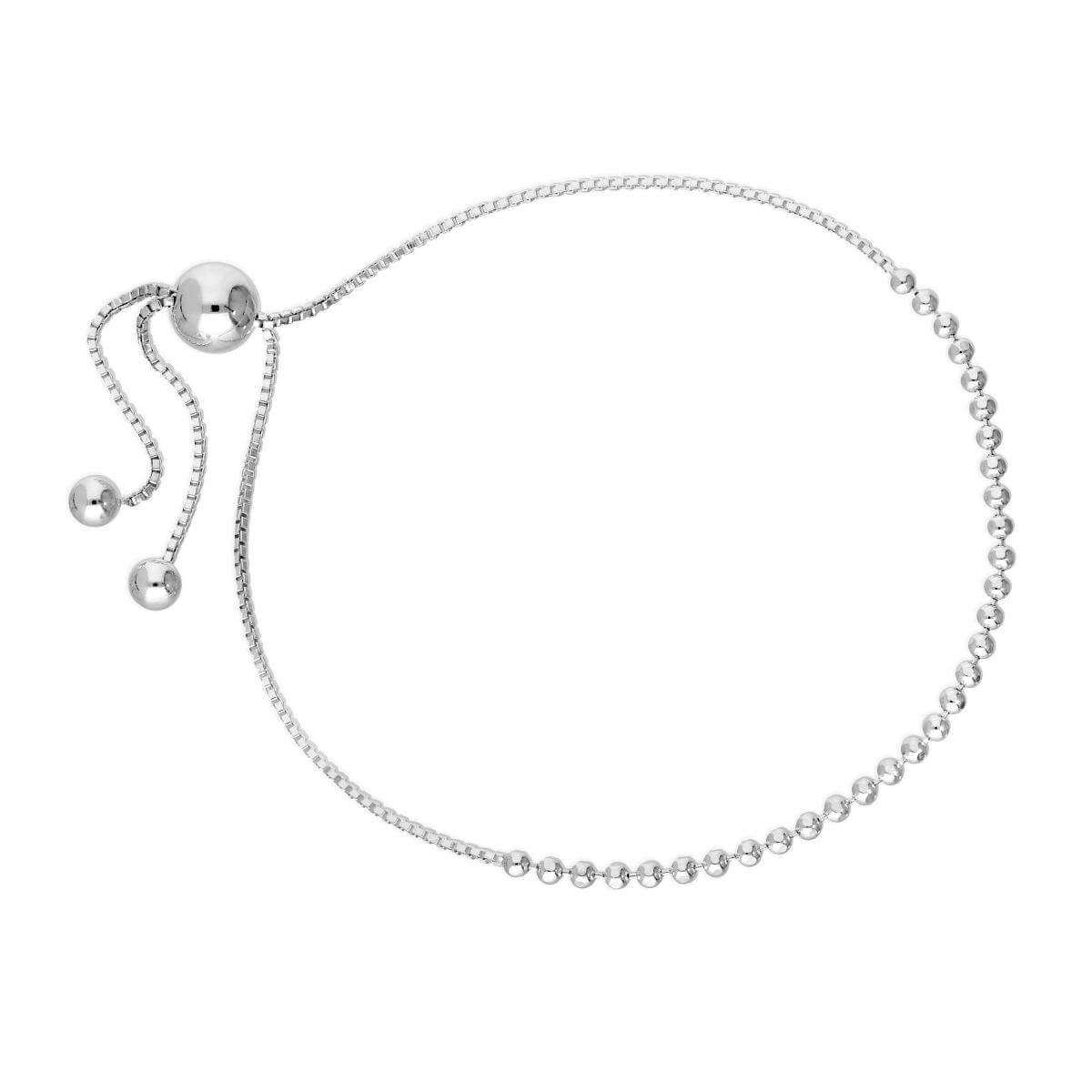 Sterling Silver 10 Inch Bead Chain & Box Chain Adjustable Bracelet