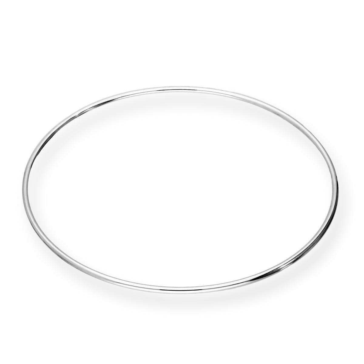 Sterling Silver 2mm Round Bangle 68mm