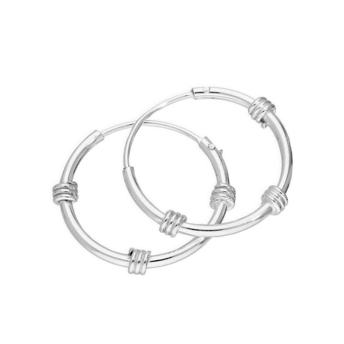 Sterling Silver 17mm Bali Hoop Earrings