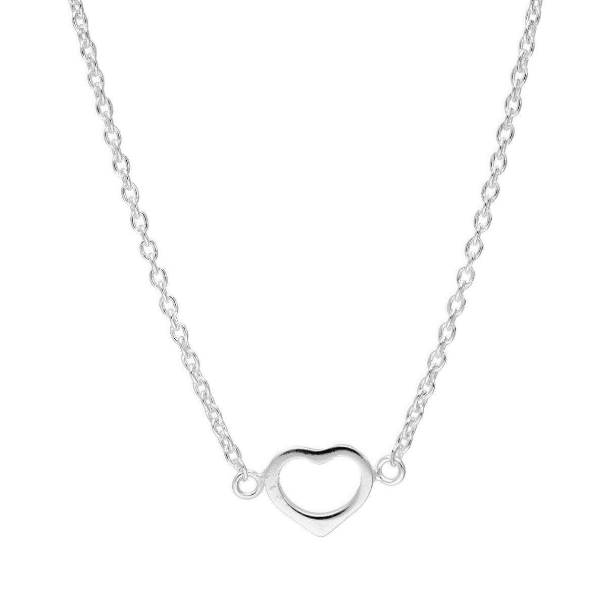 Sterling Silver Open Heart Necklace on 18 Inch Chain