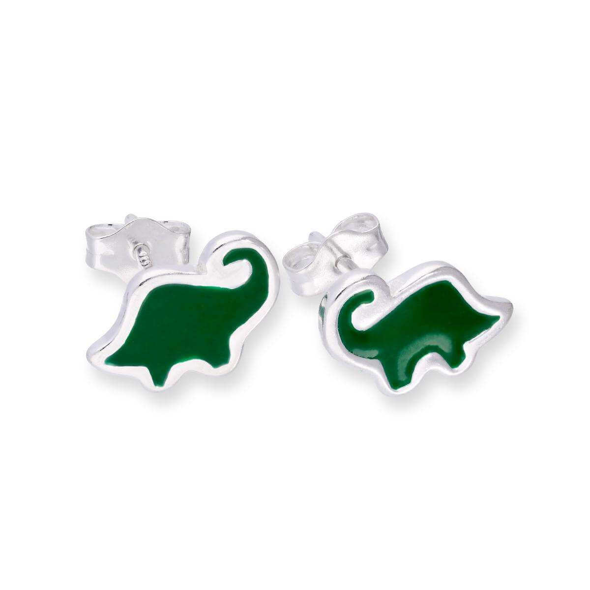 Sterling Silver & Green Enamel Dinosaur Stud Earrings