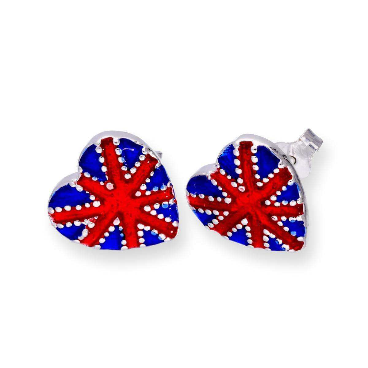 Sterling Silver & Enamel Union Jack Heart Stud Earrings