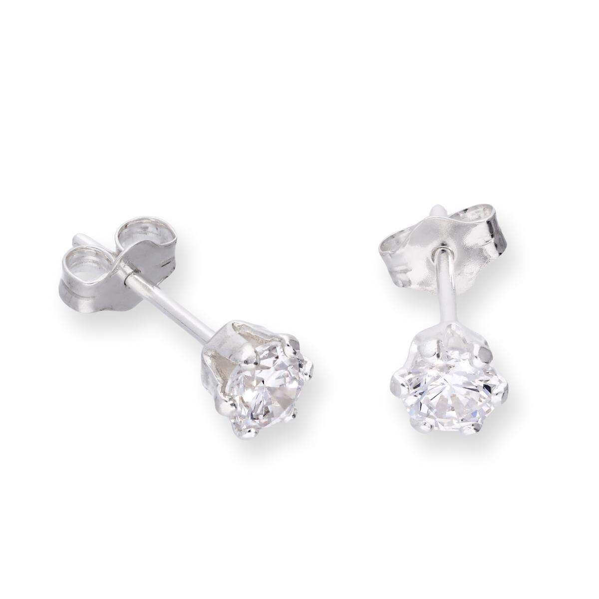 Sterling Silver & Clear CZ Crystal Stud Earrings