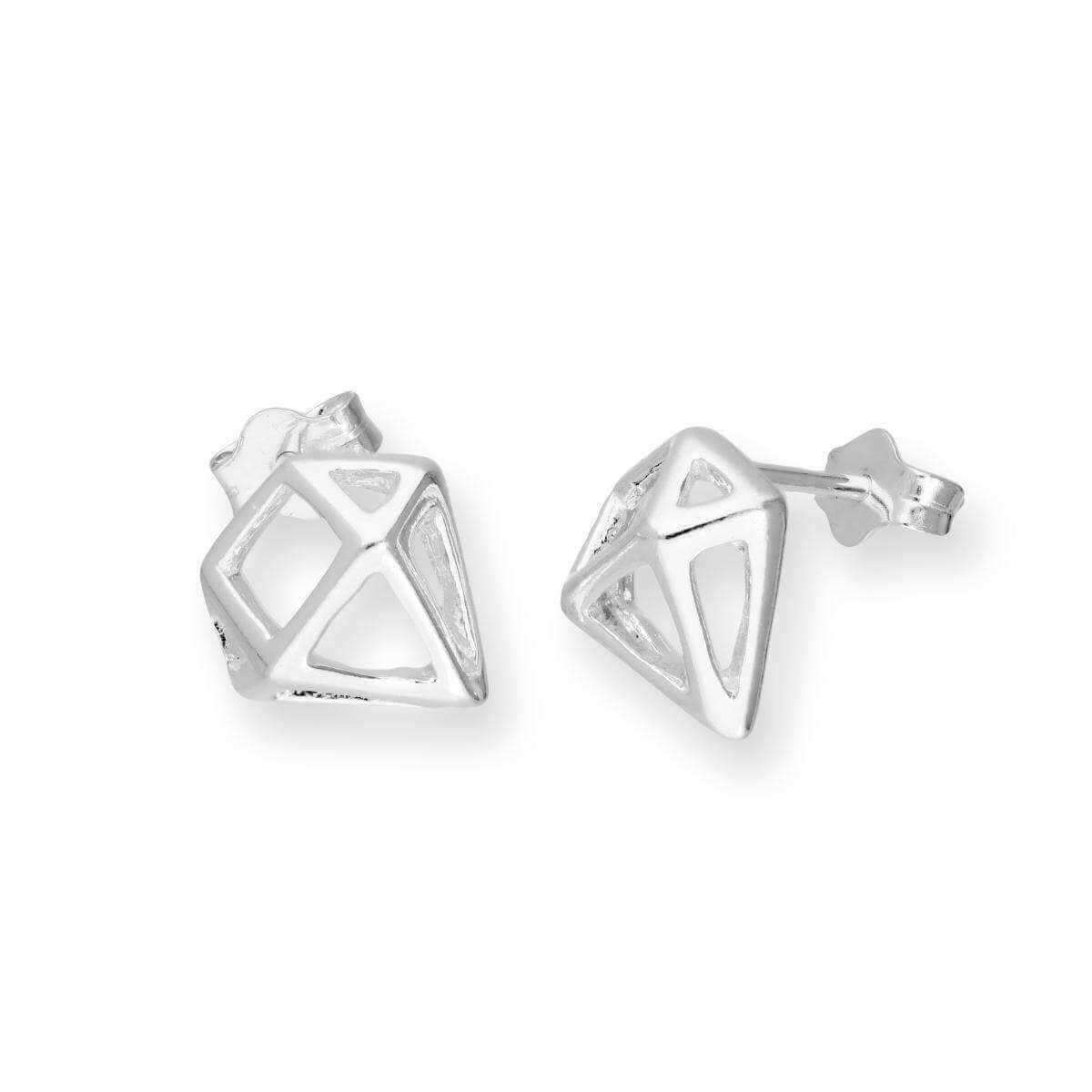 Sterling Silver Open Diamond Shape Stud Earrings