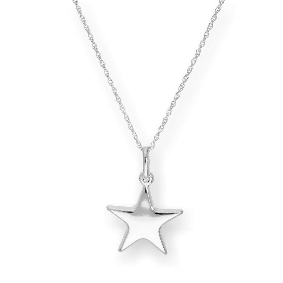 Sterling Silver Star Pendant on Chain 16 - 22 Inches