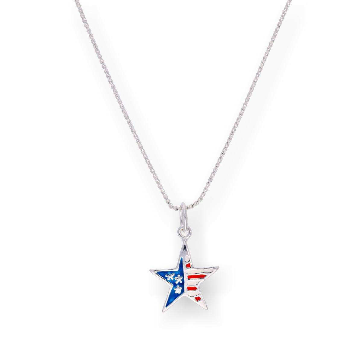 Sterling Silver & Enamel American Flag Star Pendant Necklace 16 - 22 Inches