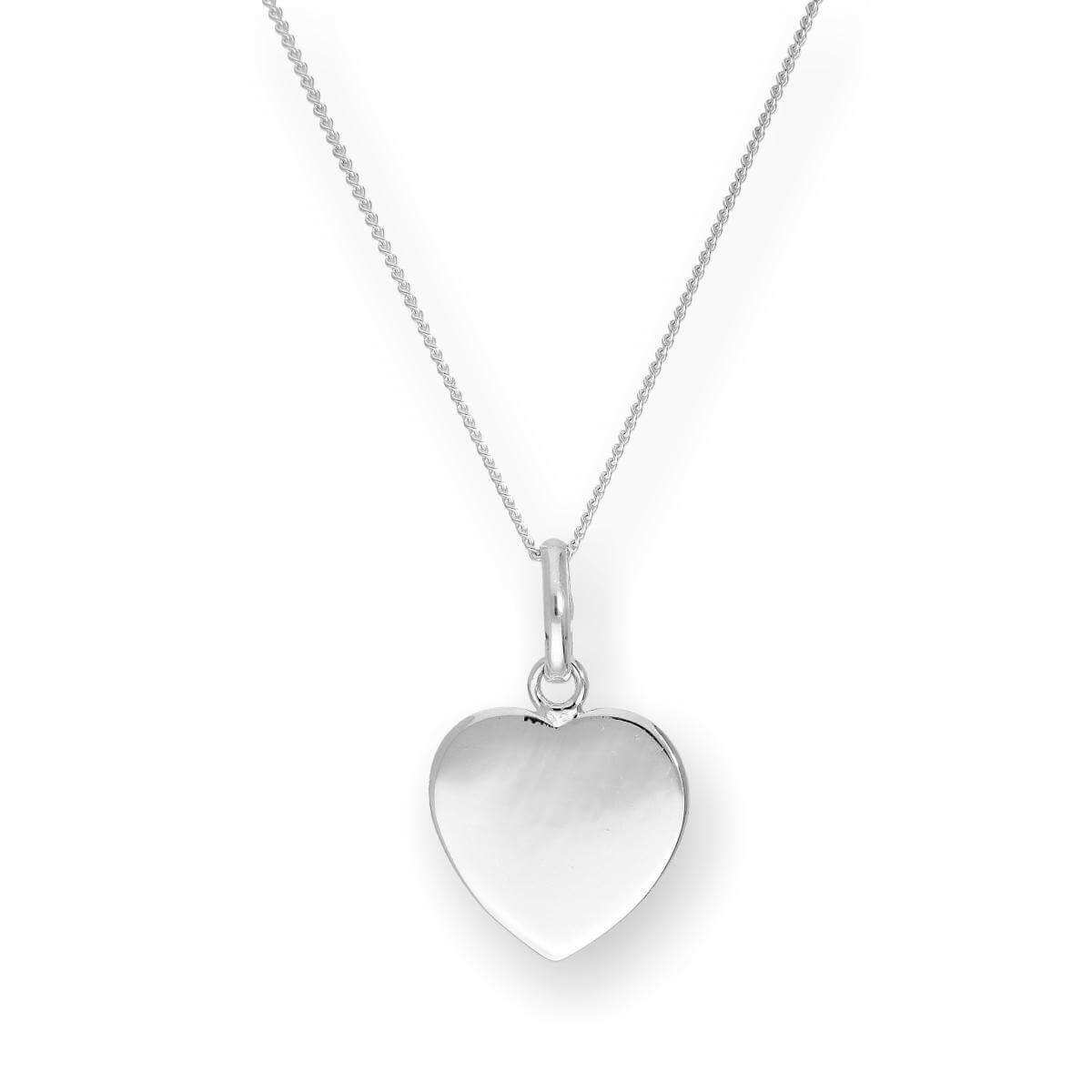 Sterling Silver Engravable Heart Pendant Necklace 16 - 22 Inches
