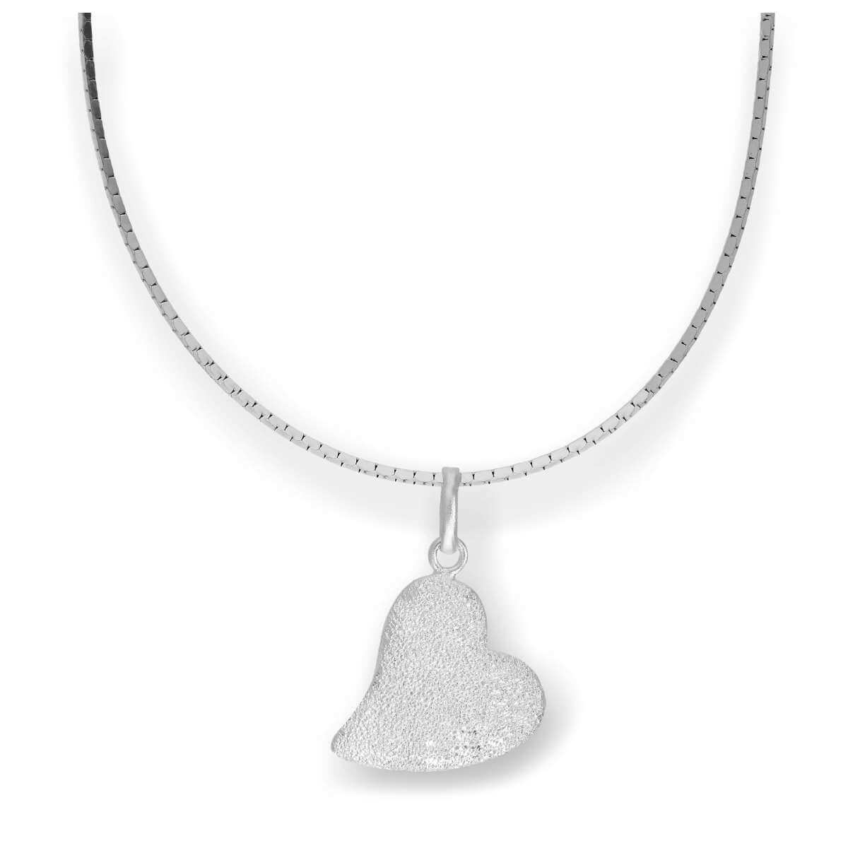 Sterling Silver Frosted Heart Pendant Necklace 16 - 22 Inches