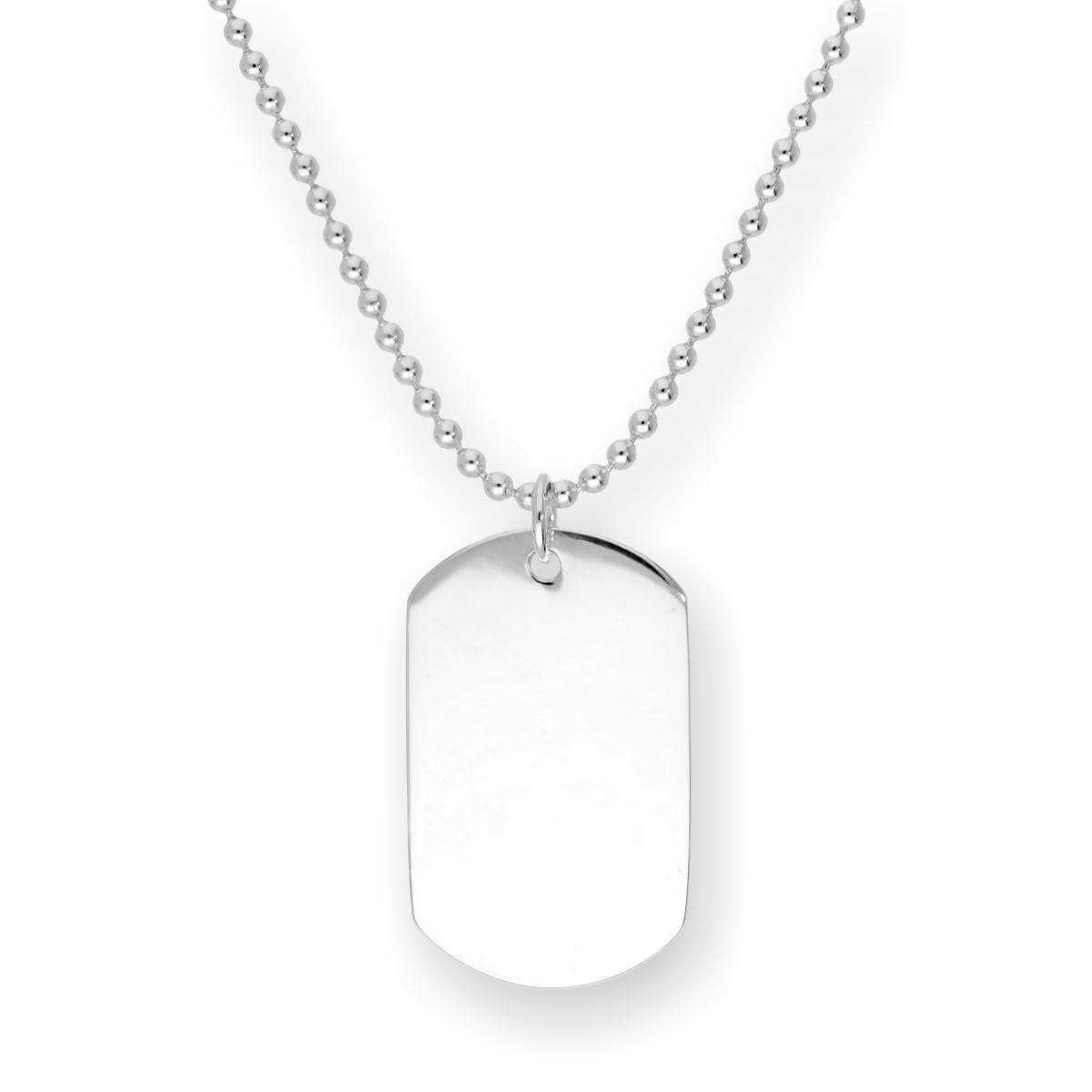 Sterling Silver Engravable Large Dog Tag Pendant on Chain 14 - 22 Inches