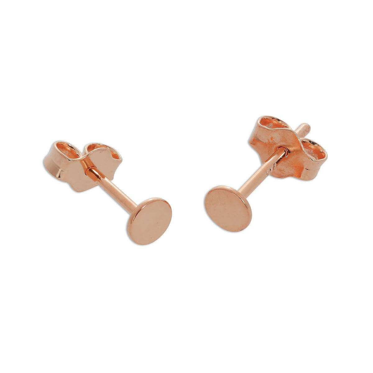 Rose Gold Plated Sterling Silver Flat Circle Stud Earrings