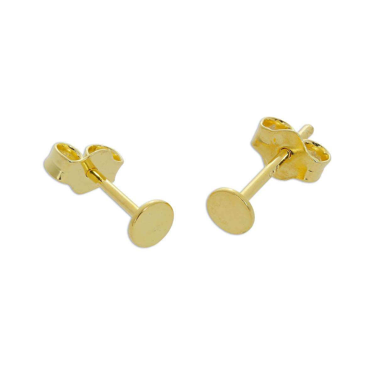 Gold Plated Sterling Silver Flat Circle Stud Earrings