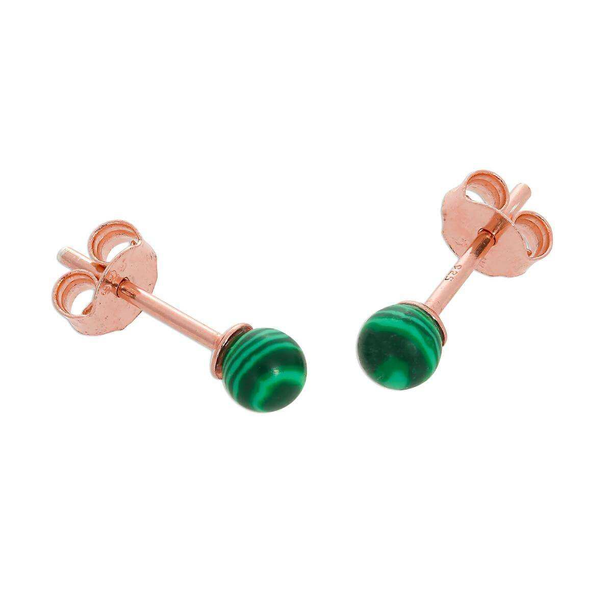 Rose Gold Plated Sterling Silver & Jade Enamel Stud Earrings