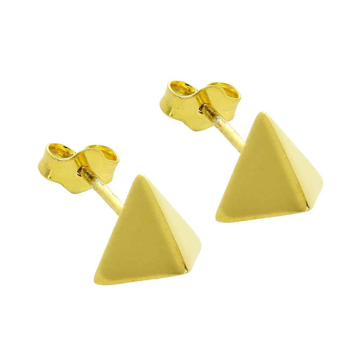 Gold Plated Sterling Silver Golden Pyramid Stud Earrings