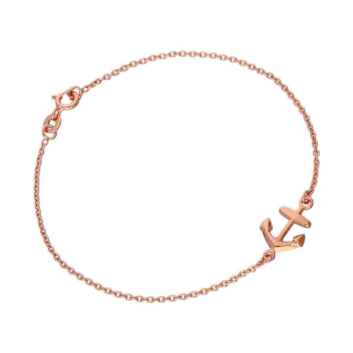 Rose Gold Dipped Sterling Silver 7 Inch Anchor Bracelet