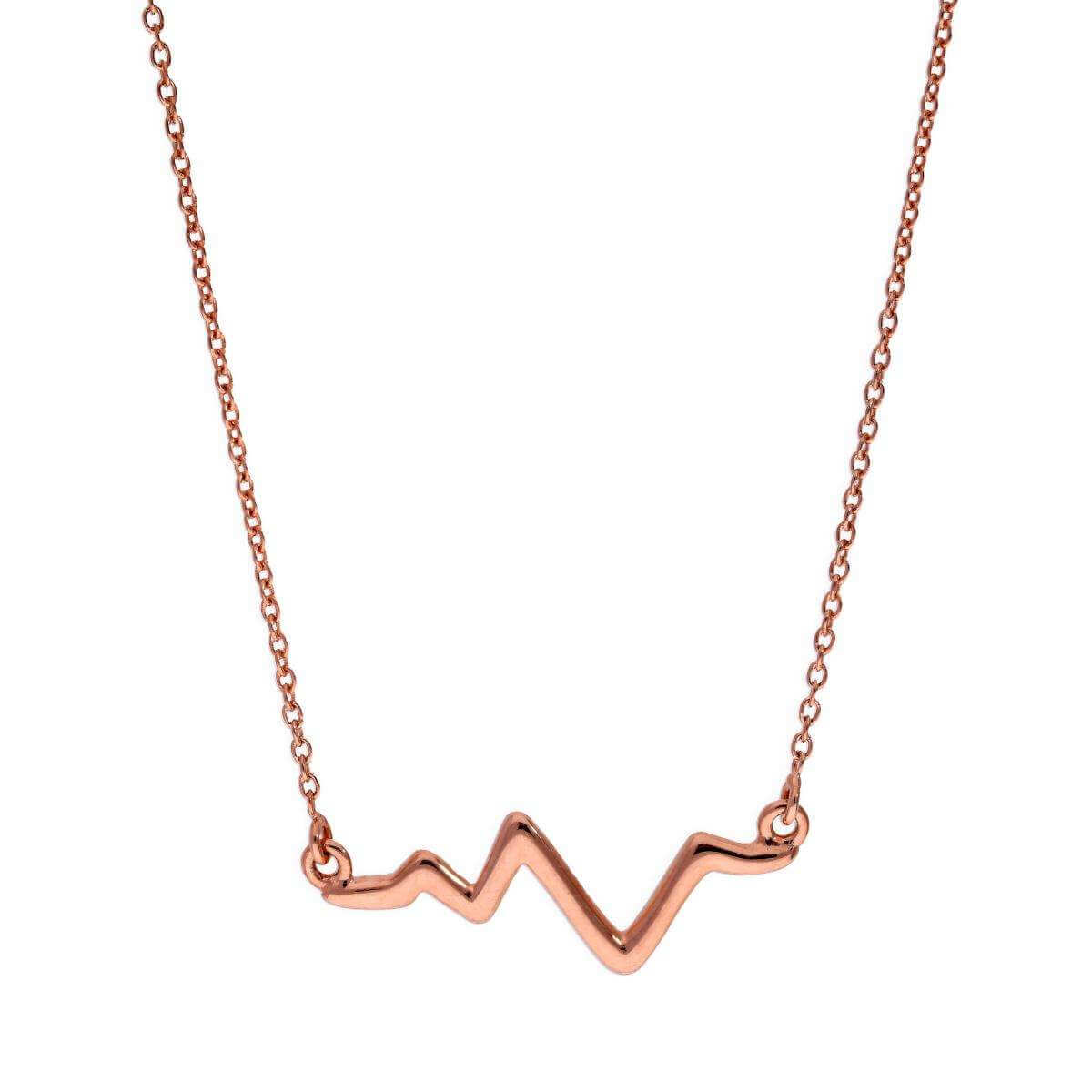 Rose Gold Plated Sterling Silver Heartbeat Pendant on 18 Inch Chain