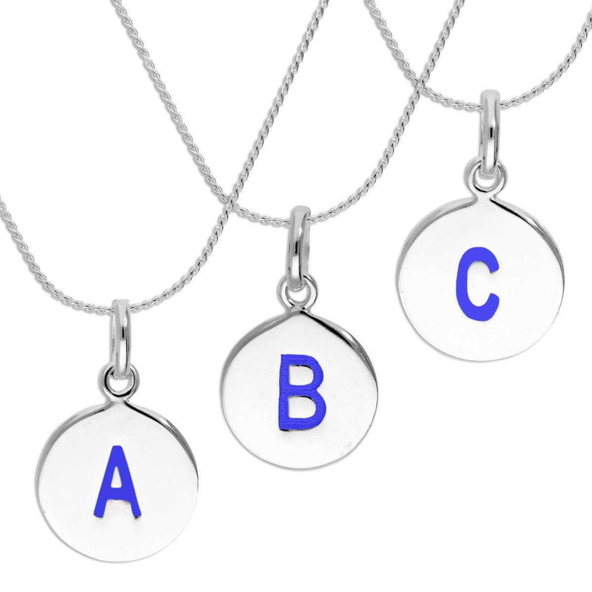 Sterling Silver Blue Filled Initial Letter Necklace A - Z 16 - 22 Inches