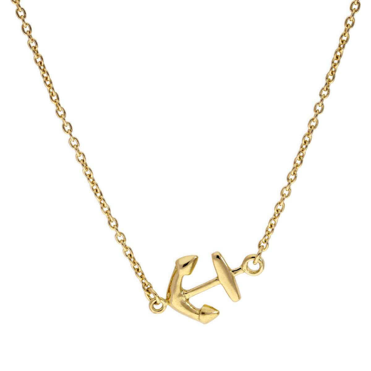 Gold Plated Sterling Silver Ship's Anchor 18 Inch Necklace