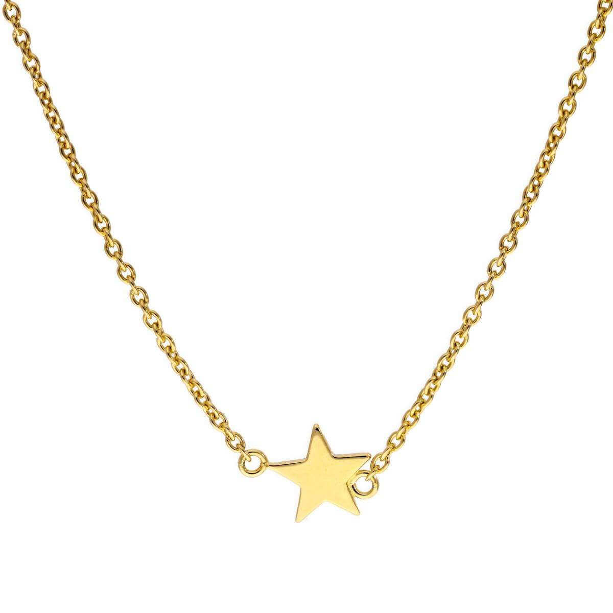 Gold Dipped Sterling Silver Star 18 Inch Necklace
