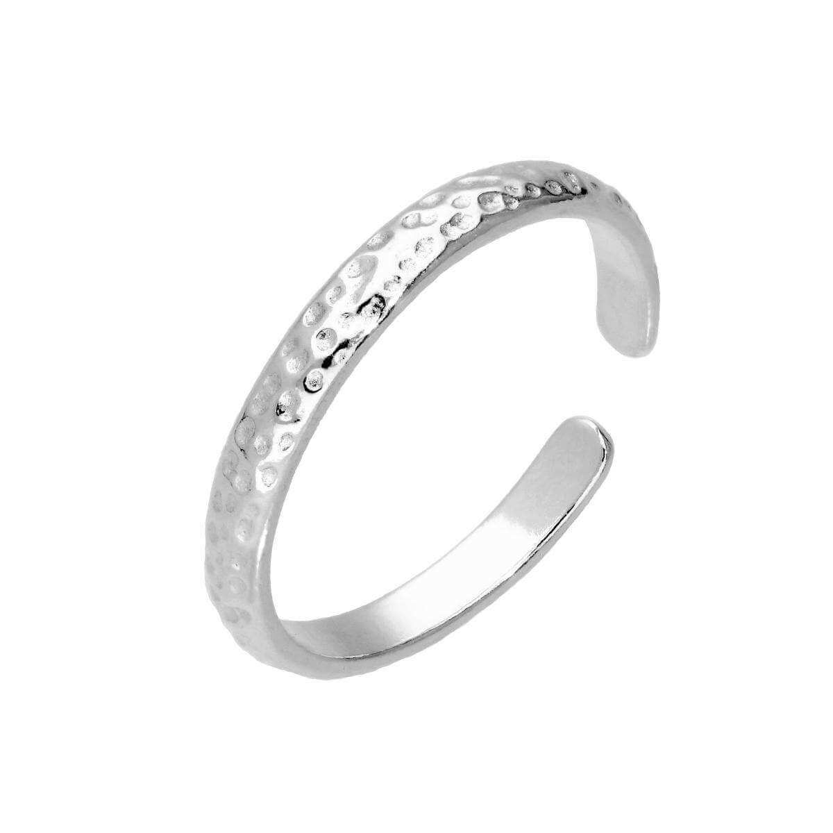Sterling Silver Hammered Finish Adjustable Toe Ring