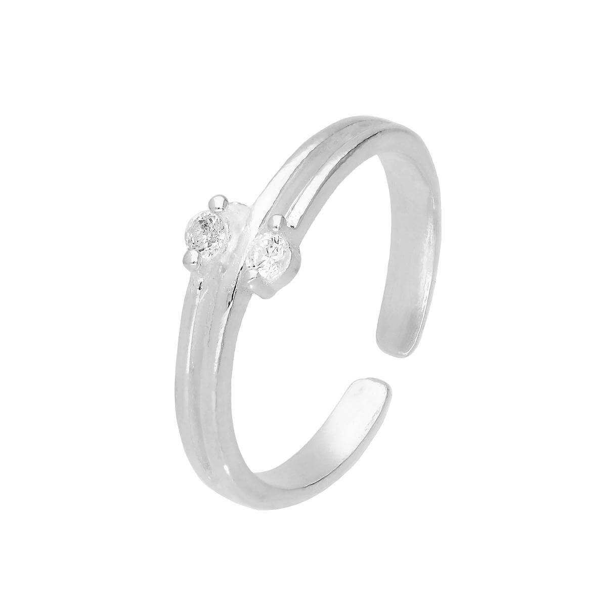 Sterling Silver & Double Clear CZ Crystal Adjustable Toe Ring