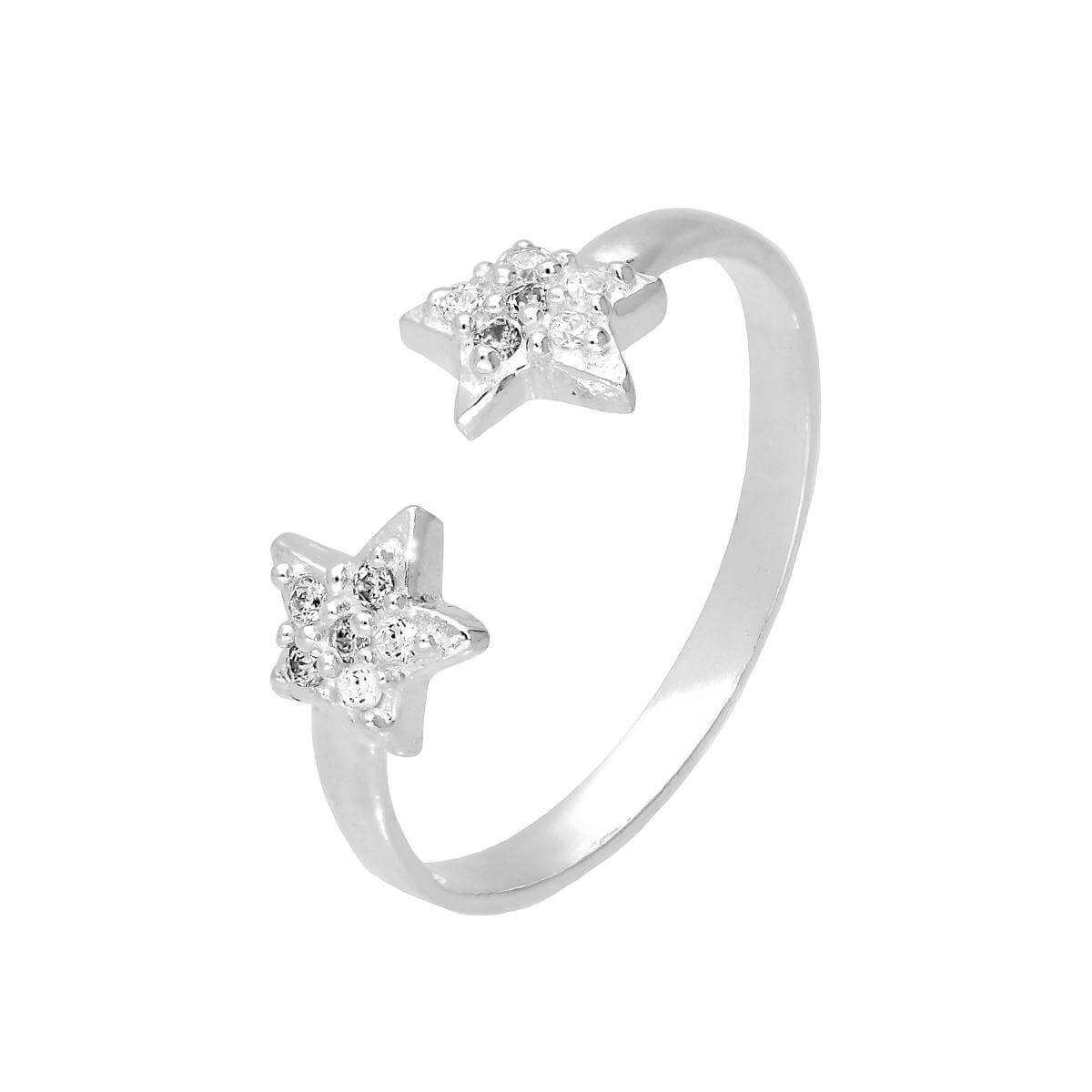 Sterling Silver & Clear CZ Crystal Starfish Adjustable Toe Ring