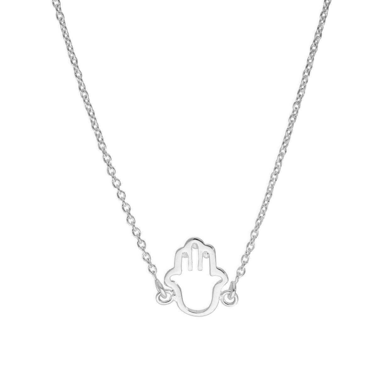 Sterling Silver Hamsa Hand Outline Necklace
