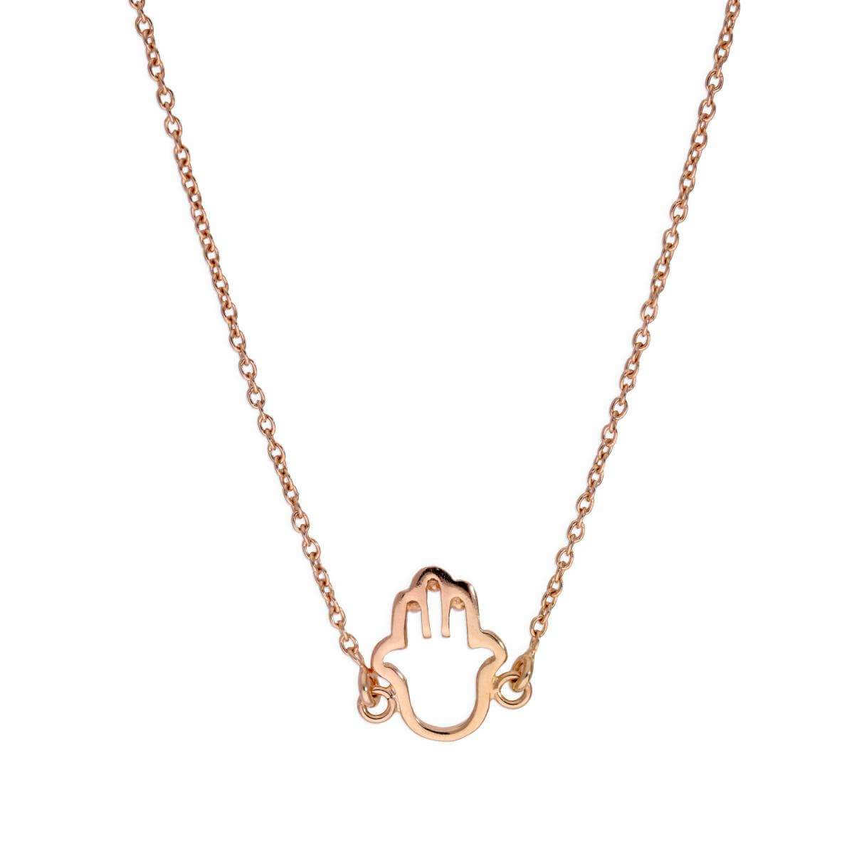 Rose Gold Plated Sterling Silver Hamsa Hand Outline Necklace
